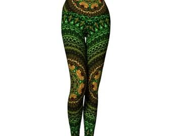 Yoga Workout Tights, Yoga Workout Clothes, Yoga Leggings Tribal, Green Yoga Pants, Eco Friendly Yoga Pants, Gypsy Yoga Leggings, Yoga Gear