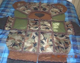 Camo Bear Quilted Rag Blanket, bear rag blanket, brown and black bear quilted blanket, bear quilted rag  blanket, camo bear shape blanket