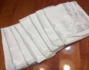 Set of 8 Vintage White Damask napkins  for home decor, picnic, dining, housewares by MarlenesAttic
