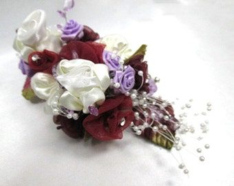 Mulberry Memories Large Hair Clip in Burgundy, Cream, Lavender, Marsala Red - Ready to Ship
