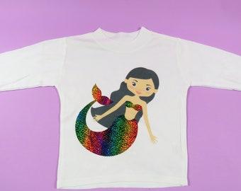 Mermaid tshirt little girls t-shirt birthday present mermaid lover mermaid gift rainbow sparkle tail childrens Mermaid Life