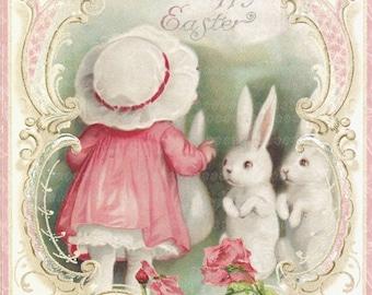Vintage Happy Easter  Bunnies Large digital download ECS buy 3 get one free romantic cottage single image rdtt svfteam