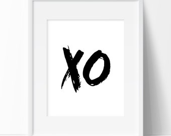 X O, XO Art, Black Art, XO Black, Printable Art, Wall Prints, X O Wall Art, XO Prints, Wall Print, Downloadable Art, Prints, Digital Art