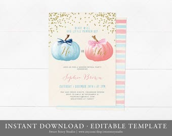 Watercolor Pumpkin Gender Reveal Baby Shower Invitation Card | Instant Download, Editable, Printable | Fall Baby Shower Invite | DC004