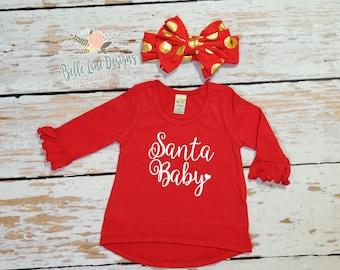 Santa Baby Toddler and Infant Shirt   Christmas Gift for Girls   Toddler Christmas Gift   Gift Ideas for Girls   Kids Christmas Shirt   136