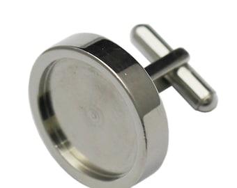 19.5mm Cufflinks Blanks High Quality DIY Jewelry Accessories Cabochon Men Cuff links for wedding gift-Titanium steel