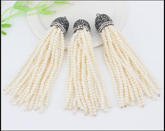 5pcs Charm pearl Beads Tassels Pendant,Metal pearl Chain Tassels,Caps Crystal Rhinestone Tassels For Jewelry Making