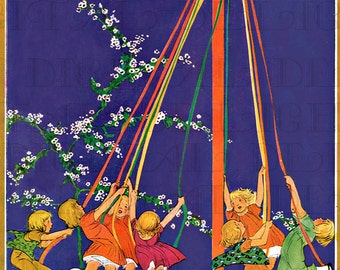 Colorful Children Around The May Pole.  MAY DAY Vintage Illustration. DIGITAL  Download. Vintage May Day Print. Jessie Wilcox Smith