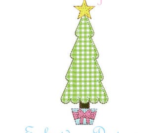 Christmas Tree Potted Bow Blanket Stitch Applique Trees  Pine Design File for Embroidery Machine Instant Download