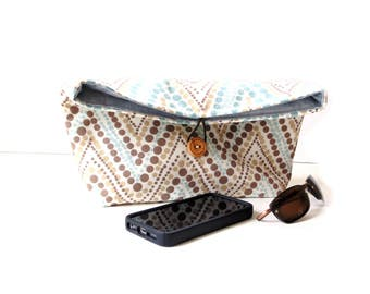 Fold over clutch purse, blue brown cream cotton fabric, Spring handbag, pouch bag
