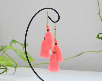 Luxury earrings • pink tassels • vintage earrings • tassel earrings• boho earrings • blue earrings • pair-tassels earrings