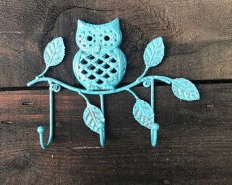 Wall Mounted Key Rack Cast Iron Owl Hook, Owl On Branch Decorative Towel Wall Fixture, Hand Painted Vintage Teal Distressed, Item #587380586