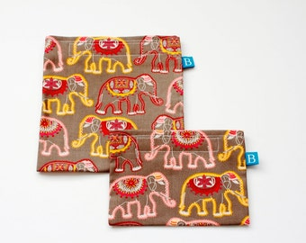 Reuseable Eco-Friendly Set of Snack and Sandwich Bags in Elephants Fabric