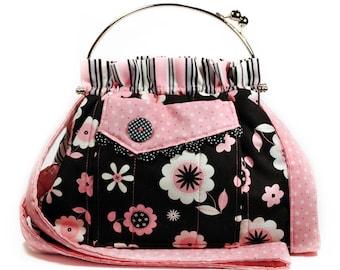 Pink Black Bag Shoulder Strap Retro Flowers and Stripes