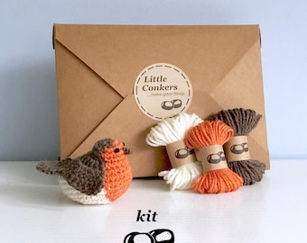 Robin Crochet Kit / DIY Kit Craft Kit Bird Decoration / Gift for Crocheter / Christmas Ornament Kit Robin Crochet Pattern