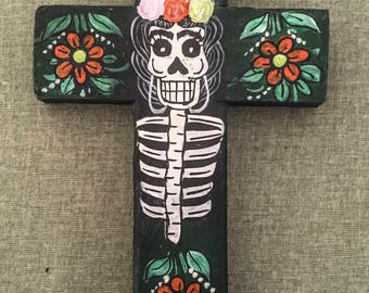 Dia De Los Muertos Hand Painted Cross Wall decoration
