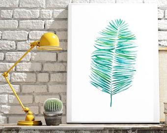 Parlor Palm Print, Watercolour Leaf Print, Tropical Leaf Print, Tropical Art, Tropical Leaf Painting, Botanical Print, Botanical Painting