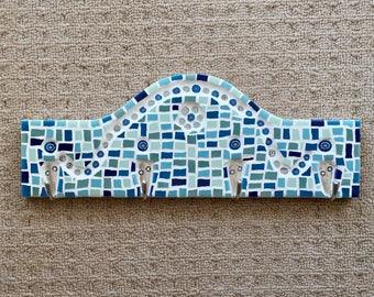 Blue Wave - Mosaic Hanger | Handmade Mosaic | Mosaic Wall Art | Home decor | Key Holder | Jewellery Hanger | Towel Rack