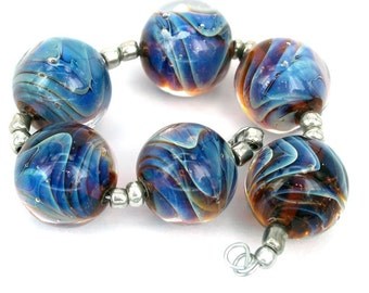 Lampwork glass beads Waves Lampwork beads (6) SRA, jewelry supplies, handmade lampwork, beads