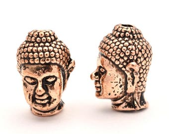 10 Antique Rose Gold Buddha Budda Head Beads for Mala and Jewellery Making and Spiritual Jewelry 13x9x10mm Traditional Budha Head
