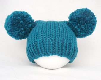 Knitted baby hat boy girl - 3 6 9 months teal petrol pom pom pompom sitter photography prop - baby shower warm wool mix hat spring winter