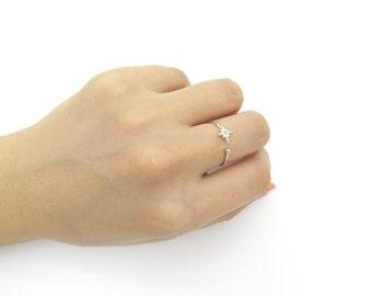 Starburst ring / Adjustable ring / Sterling silver ring / Starburst open ring / Open ring / Delicate ring / Stacking ring /Birthday gift