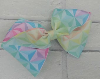 "Girls large 6"" inch pastel rainbow 3d diamonds boutique hair bow with alligator clip like JoJo Siwa Bows Signature Keeper Dance Moms"
