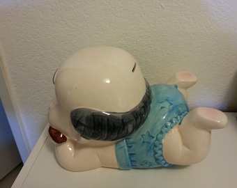 Old Man/Baby Ceramic Coin Bank