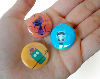 Forest Party Favor - PICK 3 - Pinback Buttons - Forest Animal Buttons