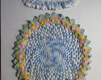Two Vintage Crochet Doilies Colorful