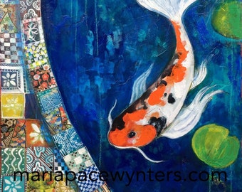 Koi In A Garden Pond - Original mixed media painting by Maria Pace-Wynters