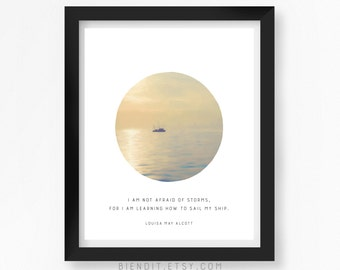 I am Learning how to Sail my Ship, Louisa May Alcott, Quote Print, Literary Quote, Seascape, Inspirational Quote, Minimalist Art