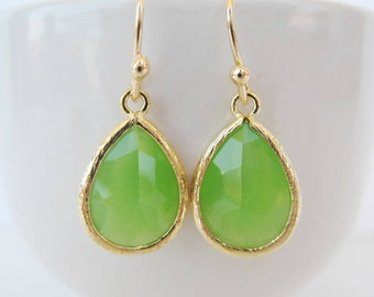 Spring green earrings Peridot green bridesmaids earrings. Bright green earrings Green weddings Long teardrop earrings Gold crystal earrings