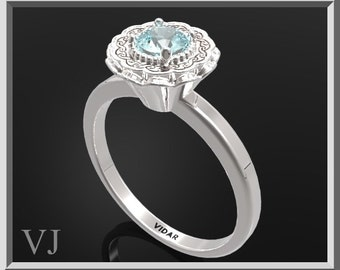Blue Topaz Sterling Silver Engagement Ring,Flower Ring,Unique Engagement Ring,Solitaire Engagement Ring