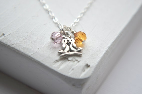 Tiny Love Bird Necklace - Sterling Silver Couples Jewelry   His and Hers Jewelry   Couples Necklace   Birthstone Jewelry   Personalized Gift