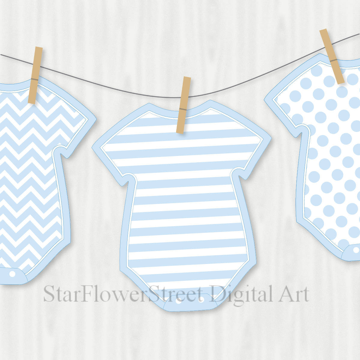 Blue baby shower decorations banner wishes for baby boy cut for Baby clothesline decoration baby shower
