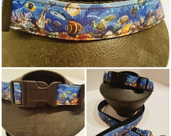 Under Water Sea Animal Dog Collar - Ocean Blue Dog Collar - Dog Collar - Dog Lover Gift - Fish Dog Collar