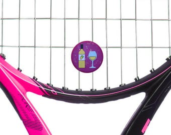 Red and White Wine oversized 2-sided tennis vibration dampeners  by Racket Expressions. Great tennis gift for tennis players!