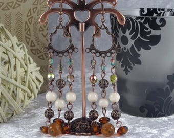 Handmade Filigree Copper Chandelier Drop Earrings