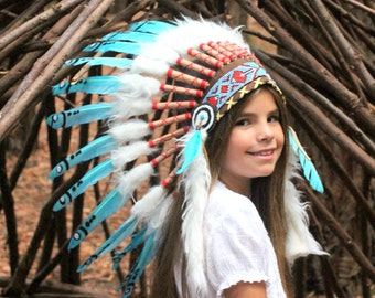 Children's Chief Indian Headdress- Cow Boys and Indian Native American Headpiece-Indian Costume- Native American Costume- feathers ~ Gift