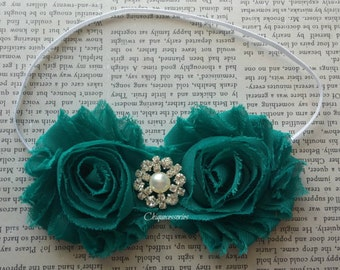 Teal headband -flower headband Photo Prop- flower girl headband, birthday headband, baby, toddler,