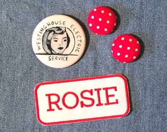 Rosie the Riveter Earrings, Pin, Patch, Polka dot earrings