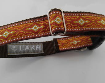 Metallic brocade ribbon Dog Collar