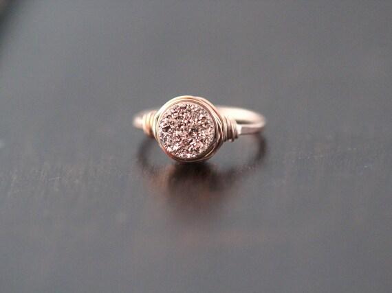 Druzy Ring Rose Gold Gemstone Quartz Gilded Handmade Ring