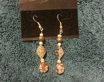 tibetan Crystal Drop Ear Rings