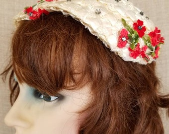 "Vintage Women's Woven Straw & Textile Floral Hat ""Evelyn Varon"""