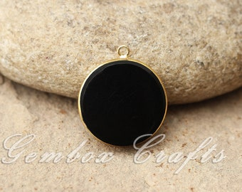 Black Onyx 25mm Round Both Side Flat Smooth 925 Sterling Silver Gold Plated Bezel Pendant
