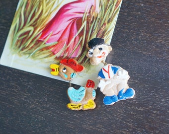 1940s Wood Novelty Brooches - 40s Hand Painted Brooche Set- Duck And Clown - Made In Japan
