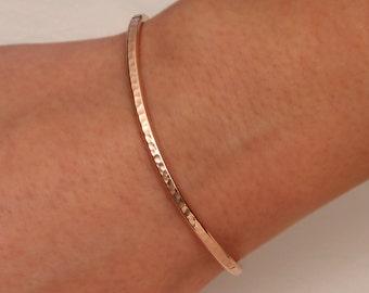 Hammered Cuff Bracelet, 14K Rose Gold Filled (350cur.rgf)