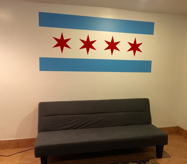 Chicago Flag Wall Decal, Chicago Flag Decor, Chicago Decor, Chicago ...